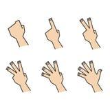 O dedo que conta as mãos para trás vê Fotos de Stock