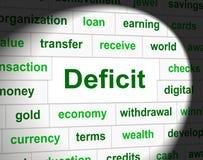O deficit dos débitos significa a obrigação financeira e os atrasos Imagens de Stock Royalty Free