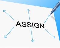 O delegado atribui indica a gestão de tarefa e atribui-a Fotografia de Stock