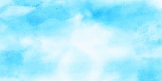 O delicado manchou o fundo claro da aquarela da cor dos azul-c?u O Aquarelle pintou a lona textured de papel para o projeto do vi ilustração royalty free