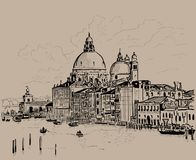 O della de Santa Maria do canal grande e da basílica sauda, Veneza, Italia tinta Desenho da mão do esboço de Digitas ilustração stock