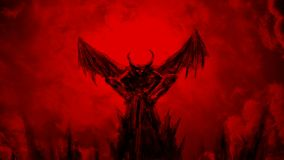 O demônio espalha suas asas e moscas acima video estoque