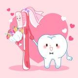 O dente dos desenhos animados casa-se com escova Imagem de Stock