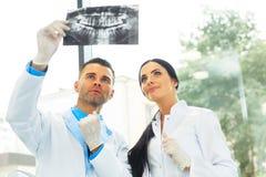 O dentista e o assistente fêmea estão discutindo a imagem dental de X Ray fotos de stock royalty free