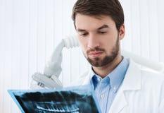 O dentista entra profundamente em detalhes de radiografia Foto de Stock Royalty Free