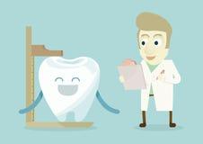 O dentista tem um dente do controle ilustração stock