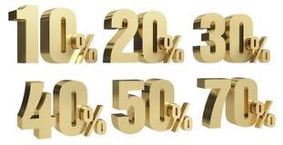 O desconto d rende por cento do texto do ouro fora no fundo branco com reflexão ilustração do vetor