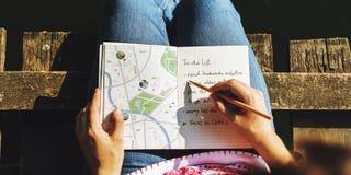 O desejo por viajar da viagem do sentido do mapa explora o conceito da rota foto de stock royalty free