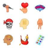 O desempenho por ícones dos povos ajustou-se, estilo dos desenhos animados Imagens de Stock Royalty Free