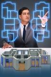 O desenhista que trabalha no projeto futurista do apartamento 3d Fotos de Stock