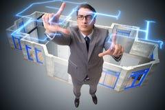 O desenhista que trabalha no projeto futurista do apartamento 3d Foto de Stock Royalty Free