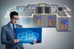 O desenhista que trabalha no projeto futurista do apartamento 3d Imagem de Stock Royalty Free