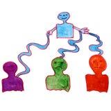 O desenho da aquarela caçoa fantoches dos desenhos animados no branco ilustração royalty free