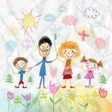 O desenho da criança da família feliz Foto de Stock