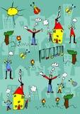 O desenho da criança de uma família feliz aprecia ao ar livre Fotos de Stock Royalty Free
