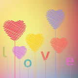 O desenho da mão do sumário do coração do amor balloons Valentin Fotografia de Stock Royalty Free