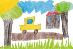 O desenho das crianças, carro Imagem de Stock