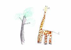O desenho das crianças do girafa Fotos de Stock