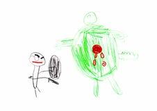 O desenho das crianças do super-herói e do monstro Imagens de Stock Royalty Free