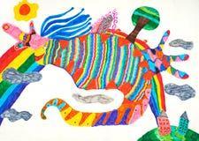 O desenho das crianças abstratas pintado perto com marcadores Foto de Stock