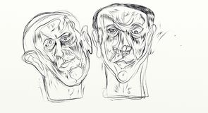O desenho de Digitas no formato de tela panorâmico, figurativos, minimalistas, delicados e jejuam, os rostos humanos que interage foto de stock royalty free