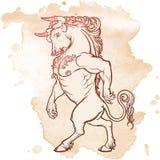 O desenho de esboço de Minotaur isolou-se no fundo do grunge Fotos de Stock