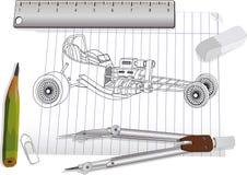 O desenho de um veículo motorizado Foto de Stock