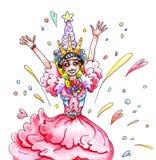 O desenho de uma cor alegre feliz ectática com um sorriso da menina da princesa em um vestido cor-de-rosa e em uma coroa no feria ilustração royalty free