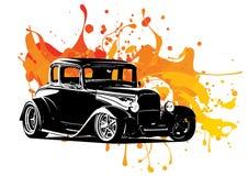 O desenho do carro do vintage com tinta colorida espirra ilustração do vetor