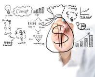 O desenho do homem de negócios obtém o dinheiro Fotos de Stock Royalty Free