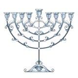 O desenho do vetor do menorah do Hanukkah do esboço ou do candelabro de Chanukiah na prata pastel coloriu isolado no fundo branco ilustração stock