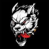 O desenho irritado da mão do vetor do lobo isolou-se ilustração stock