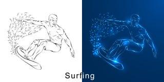 O desenho linear do surfista em uma placa ilustração stock