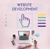 O desenvolvimento do Web site liga Seo Webinar Cyberspace Concept foto de stock royalty free