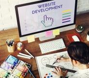 O desenvolvimento do Web site liga Seo Webinar Cyberspace Concept imagens de stock