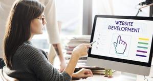O desenvolvimento do Web site liga Seo Webinar Cyberspace Concept imagens de stock royalty free