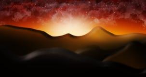O deserto de Judean com ilustração estrelado do fundo do céu da nuvem Foto de Stock Royalty Free