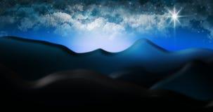 O deserto de Judean com ilustração estrelado do fundo do céu da nuvem Fotografia de Stock