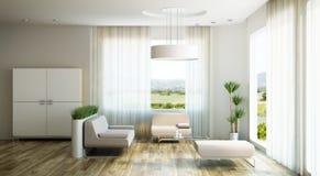 O design de interiores da sala da sala de estar, 3d rende Foto de Stock Royalty Free