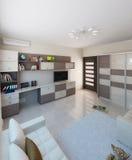 O design de interiores da sala de crianças, 3D rende Fotos de Stock Royalty Free