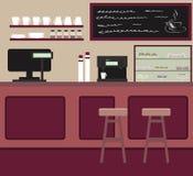 O design de interiores do café Cafetaria com barra contrária ilustração stock
