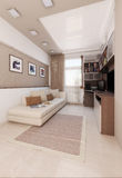 O design de interiores do quarto das cores claras, rende 3D Foto de Stock Royalty Free