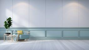 O design de interiores minimalista da sala, a poltrona azul e a planta na parede branca /3d rendem Foto de Stock Royalty Free