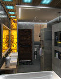 O design de interiores minimalista do banheiro, rende 3D Fotografia de Stock Royalty Free