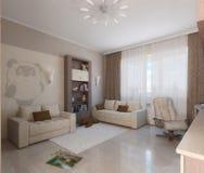 O design de interiores minimalista do estilo da sala de crianças, 3D rende Fotos de Stock