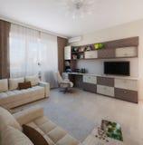 O design de interiores minimalista do estilo da sala de crianças, 3D rende Imagem de Stock Royalty Free