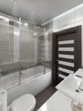 O design de interiores minimalista do estilo do banheiro, rende 3D Imagens de Stock