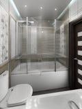O design de interiores minimalista do estilo do banheiro, rende 3D Fotografia de Stock Royalty Free