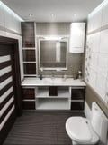 O design de interiores minimalista do estilo do banheiro, rende 3D Fotos de Stock Royalty Free