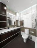 O design de interiores minimalista do estilo do banheiro, rende 3D Fotos de Stock
